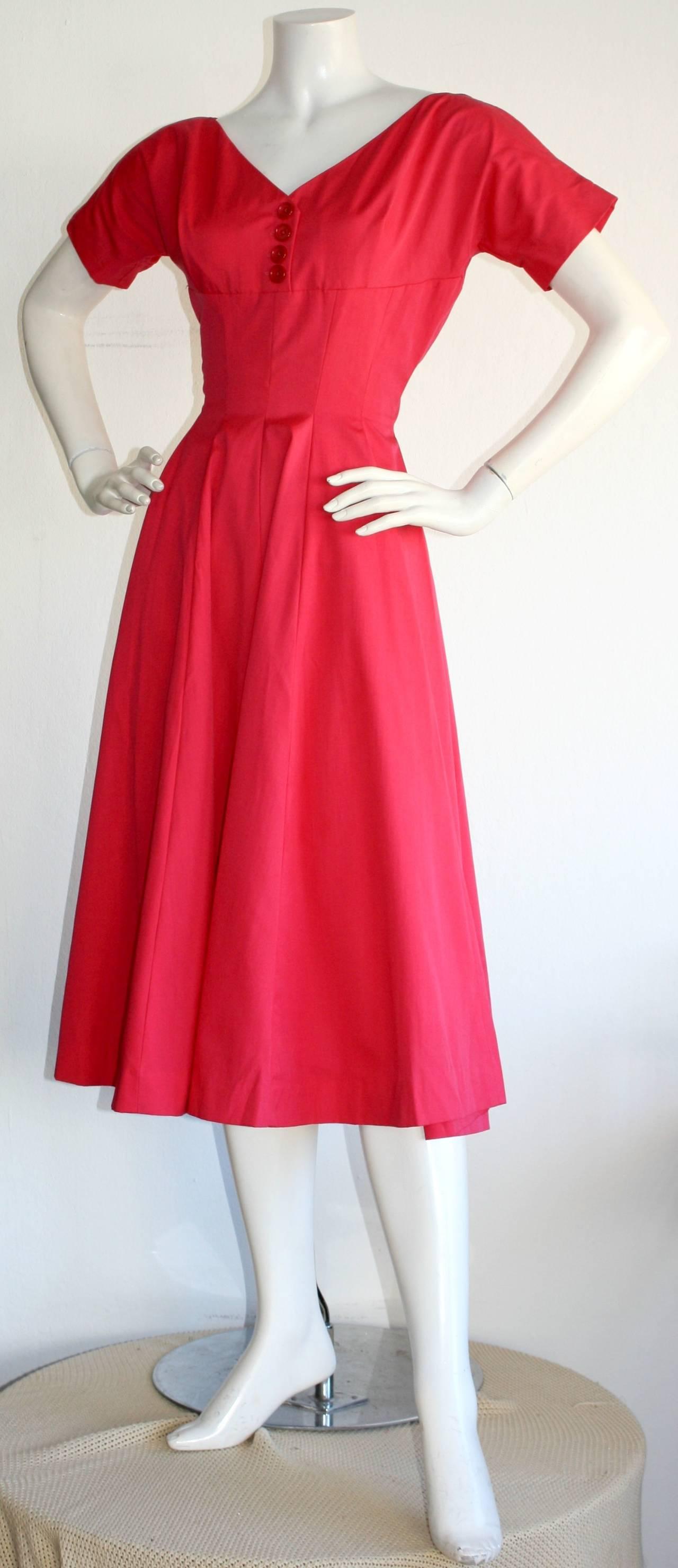 Pretty 1950s Vintage Anne Fogarty Raspberry Pink Full