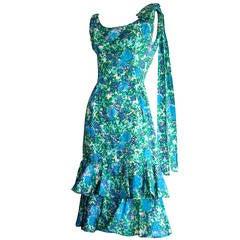Bombshell 1950s Vintage Neiman Marcus Watercolor Peplum Ribbon Cotton Dress