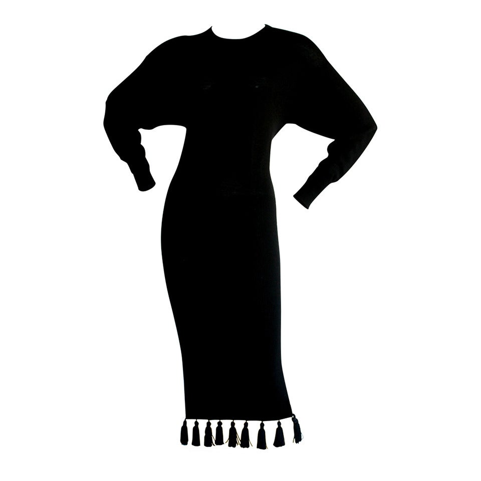 Vintage Angelo Tarlazzi Tassel Black Sweater Dress Brand New
