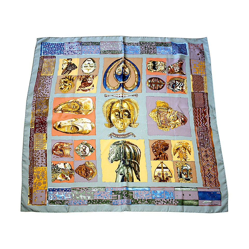 "Rare Vintage Hermes Scarf Loic Dubigeon "" Persona "" Aztec Egypt Mummy Print 1"