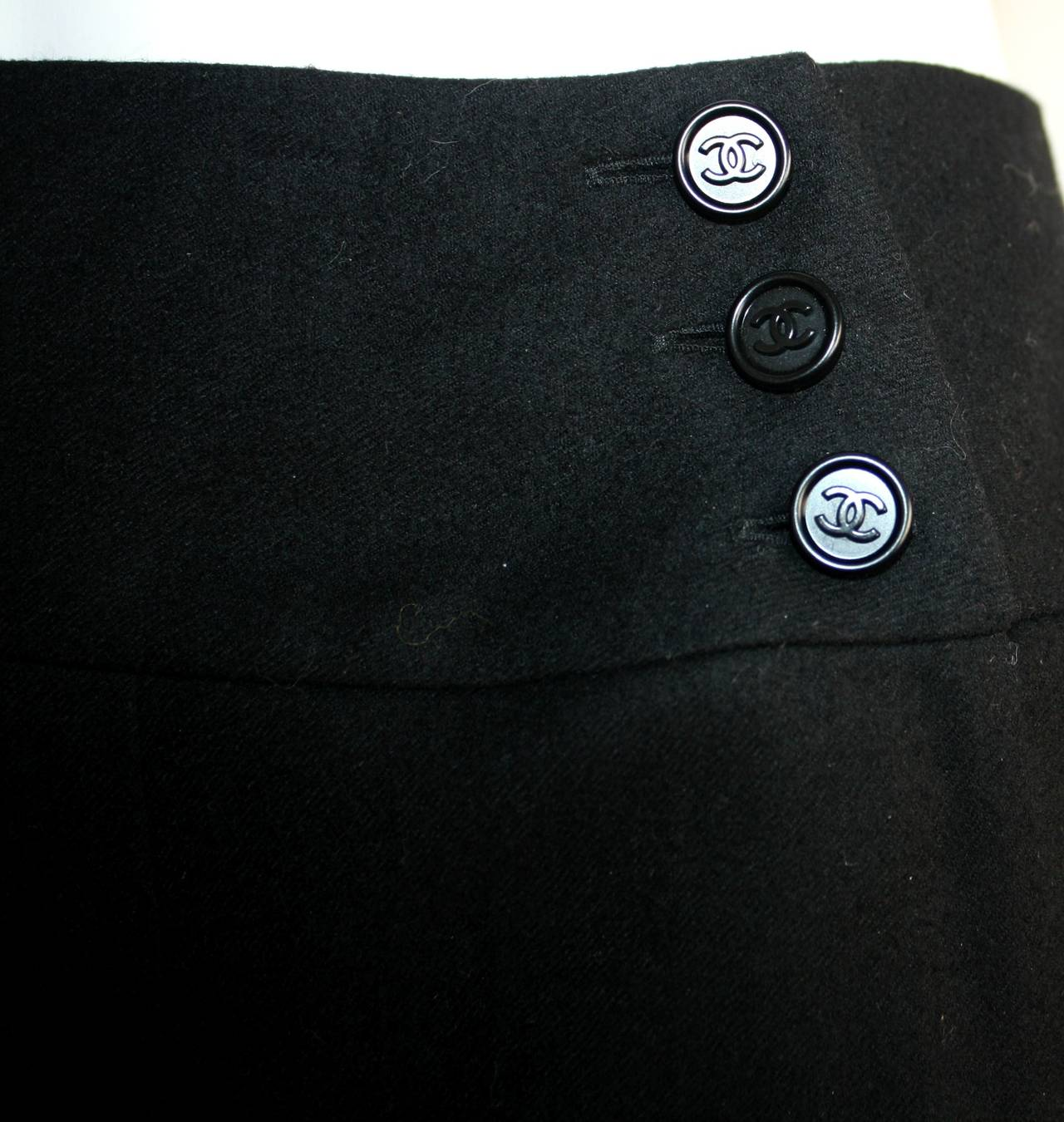 Vintage Chanel Navy Blue Pleated Skirt w/ Logo Buttons