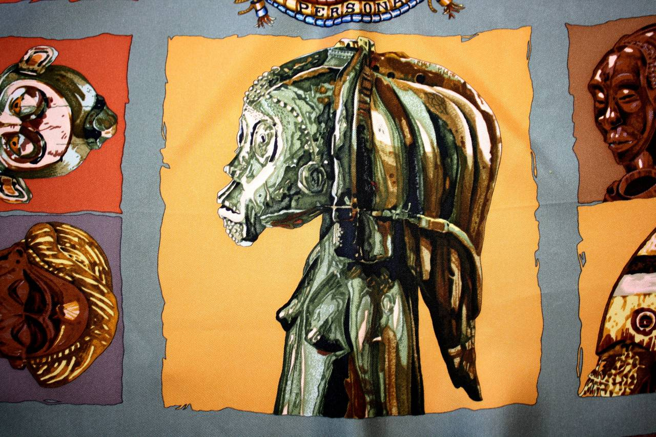 "Rare Vintage Hermes Scarf Loic Dubigeon "" Persona "" Aztec Egypt Mummy Print 4"