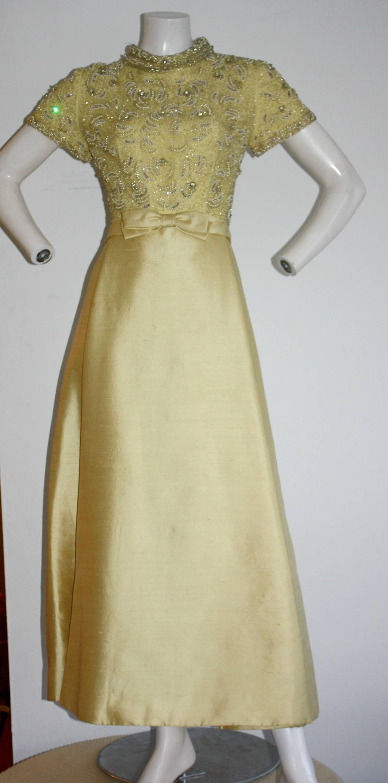 Gorgeous Vintage 1960s Wolfman's of Houston Heavily Beaded Yellow Silk Bell Gown 2