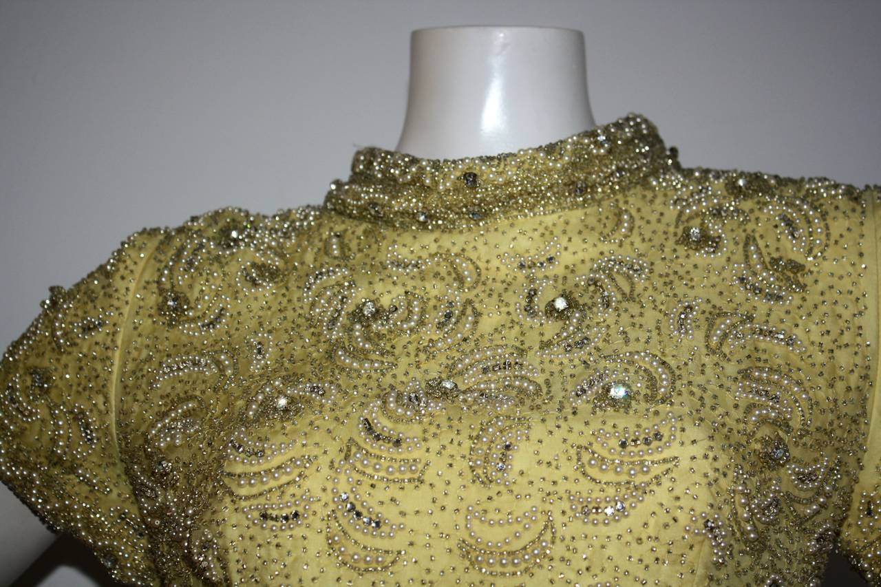 Gorgeous Vintage 1960s Wolfman's of Houston Heavily Beaded Yellow Silk Bell Gown 3
