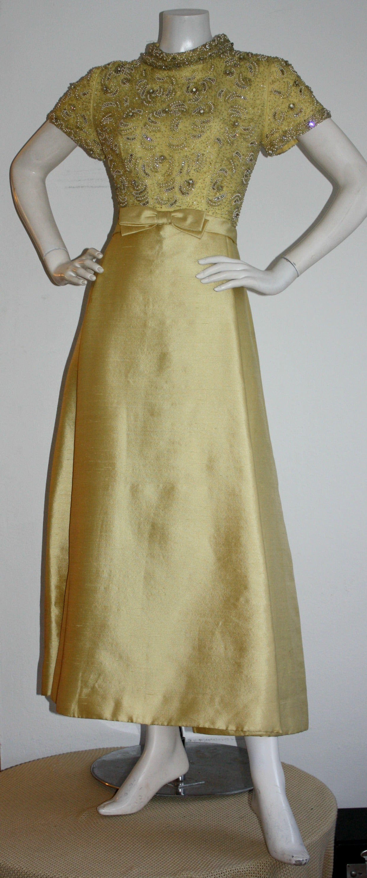 Gorgeous Vintage 1960s Wolfman's of Houston Heavily Beaded Yellow Silk Bell Gown 4
