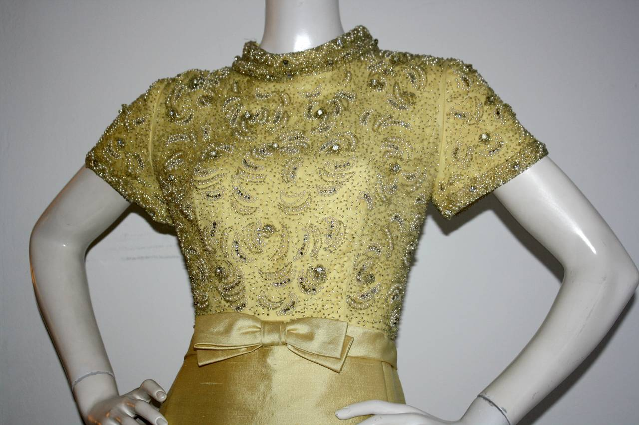 Gorgeous Vintage 1960s Wolfman's of Houston Heavily Beaded Yellow Silk Bell Gown 5