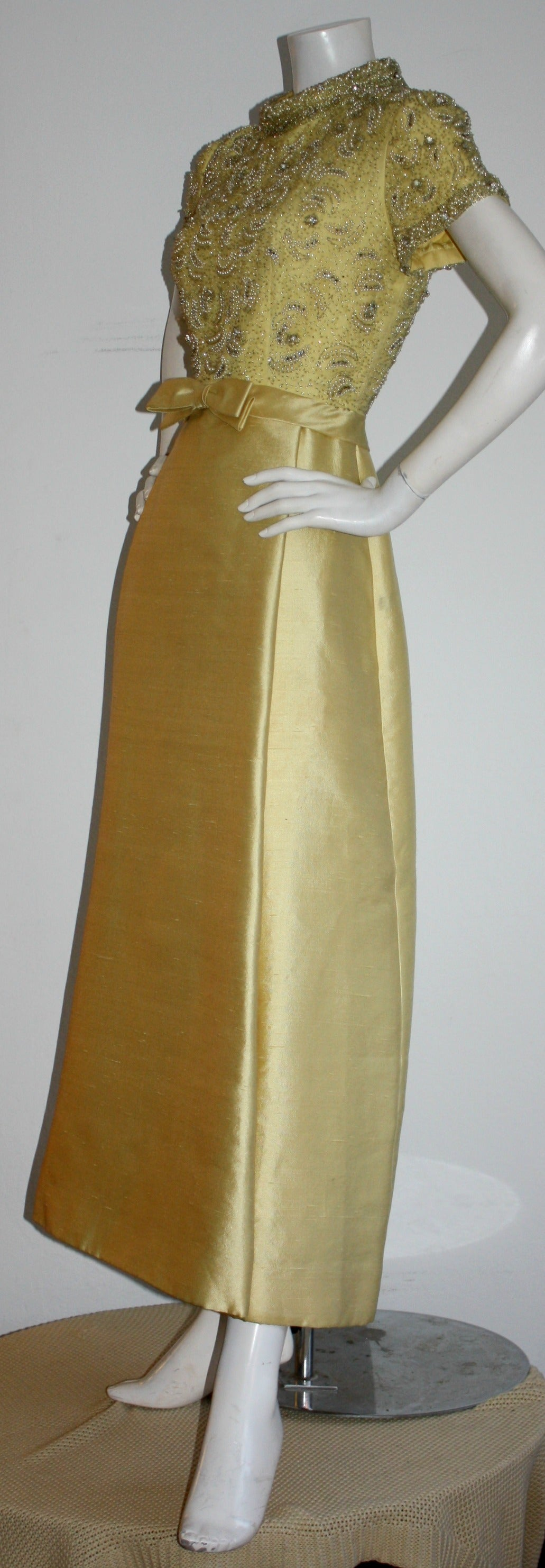 Gorgeous Vintage 1960s Wolfman's of Houston Heavily Beaded Yellow Silk Bell Gown 6