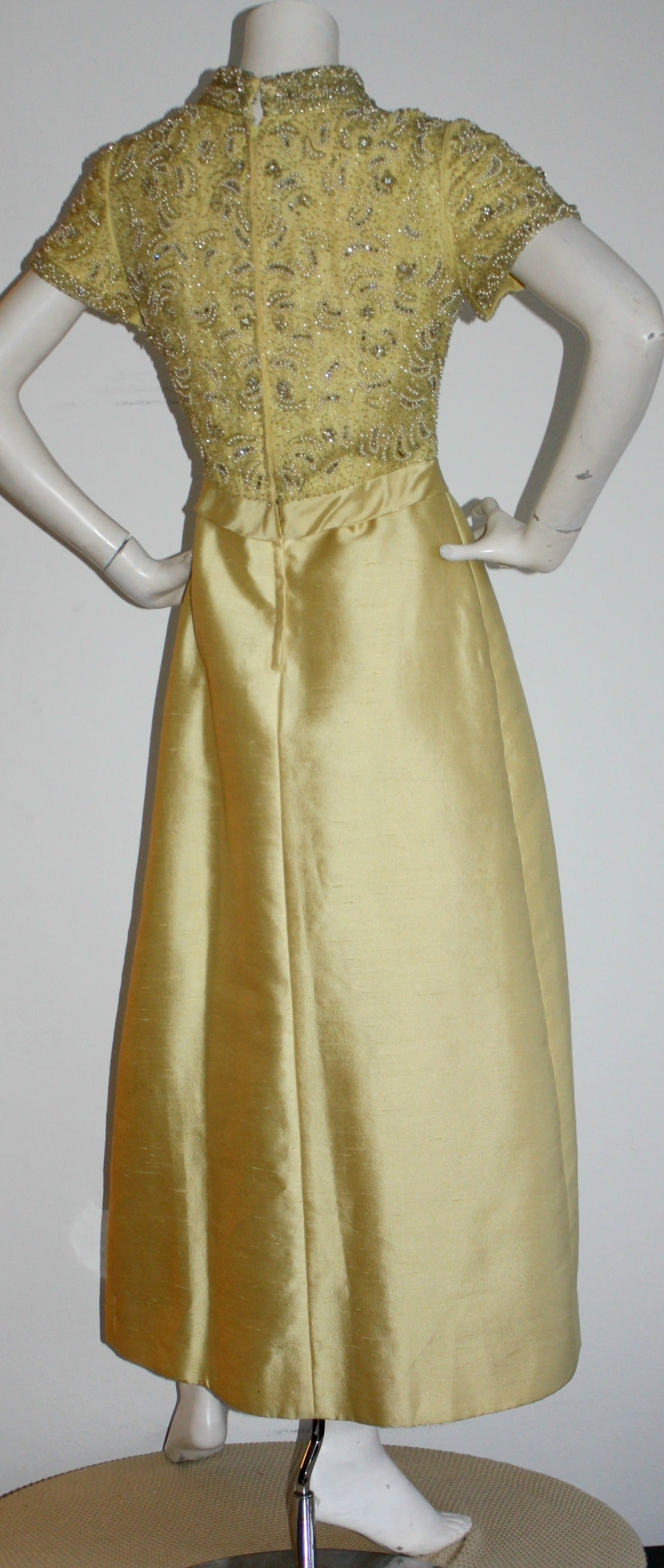 Gorgeous Vintage 1960s Wolfman's of Houston Heavily Beaded Yellow Silk Bell Gown 7