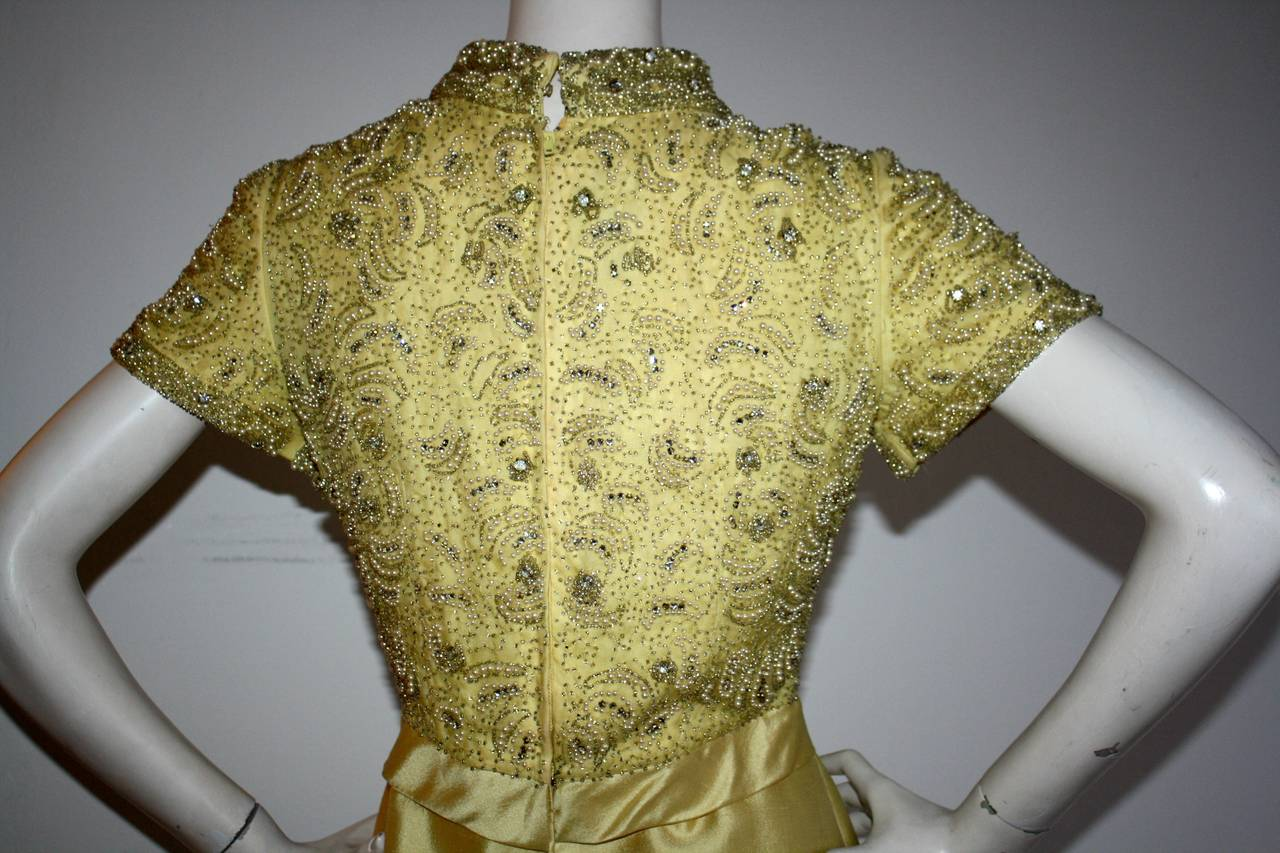 Gorgeous Vintage 1960s Wolfman's of Houston Heavily Beaded Yellow Silk Bell Gown 8