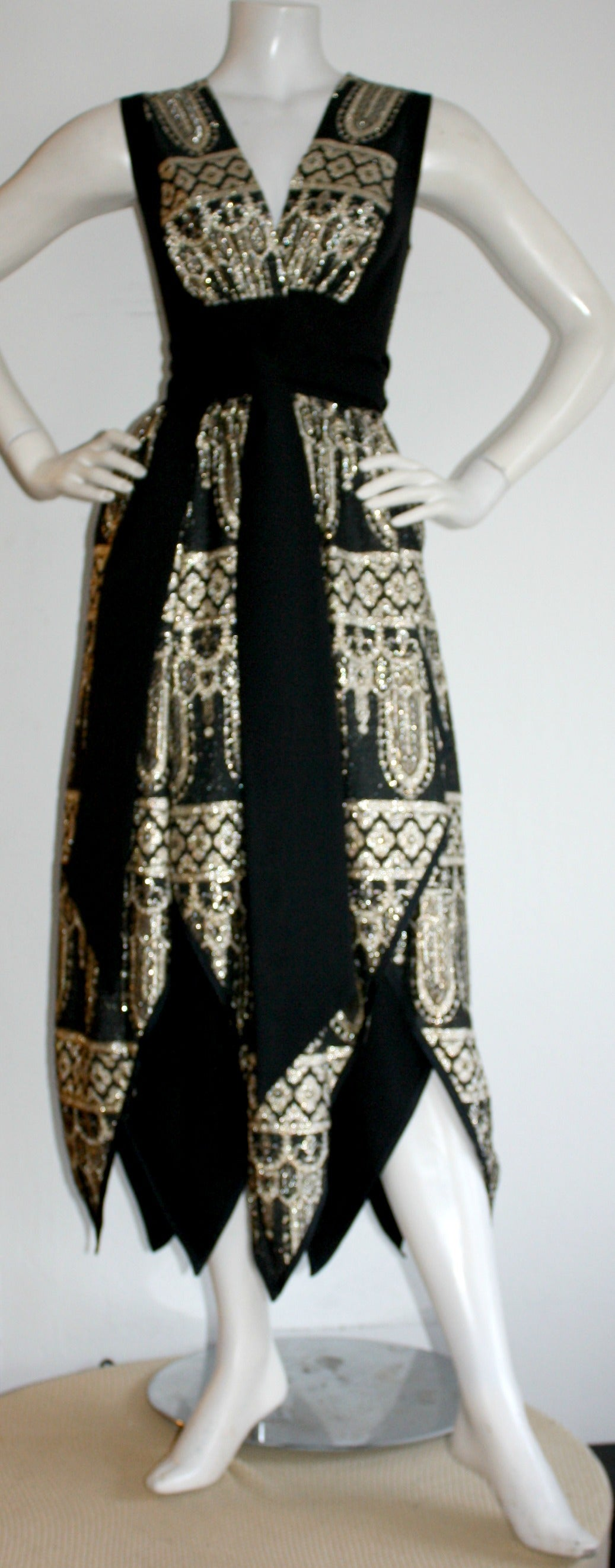 1960s Vintage Jay Morley for Fern Violette Harlequin Gold Black Wrap Dress 2