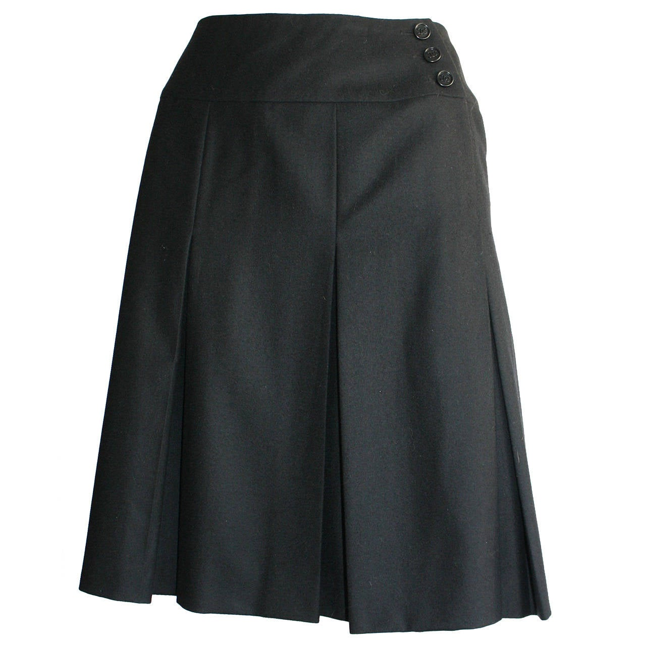 Vintage Chanel Navy Blue Pleated Skirt w/ Logo Buttons For Sale at ...