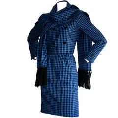 1960s Vintage Mollie Parnis Blue Gingham 3 PIece Suit w/ Scarf