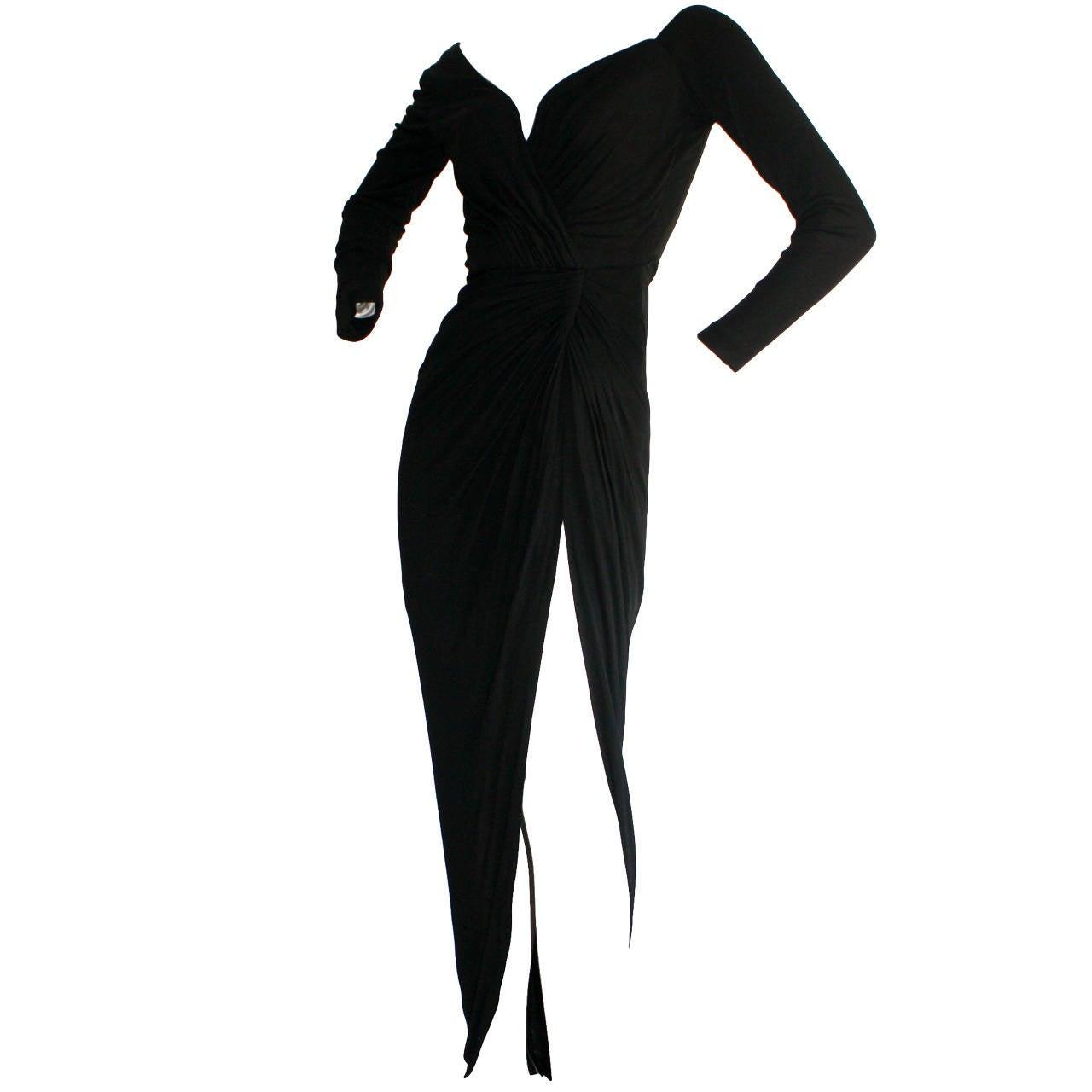 Remarkable Vintage Vicky Tiel Couture Black Jersey Off-Shoulder Gown 1