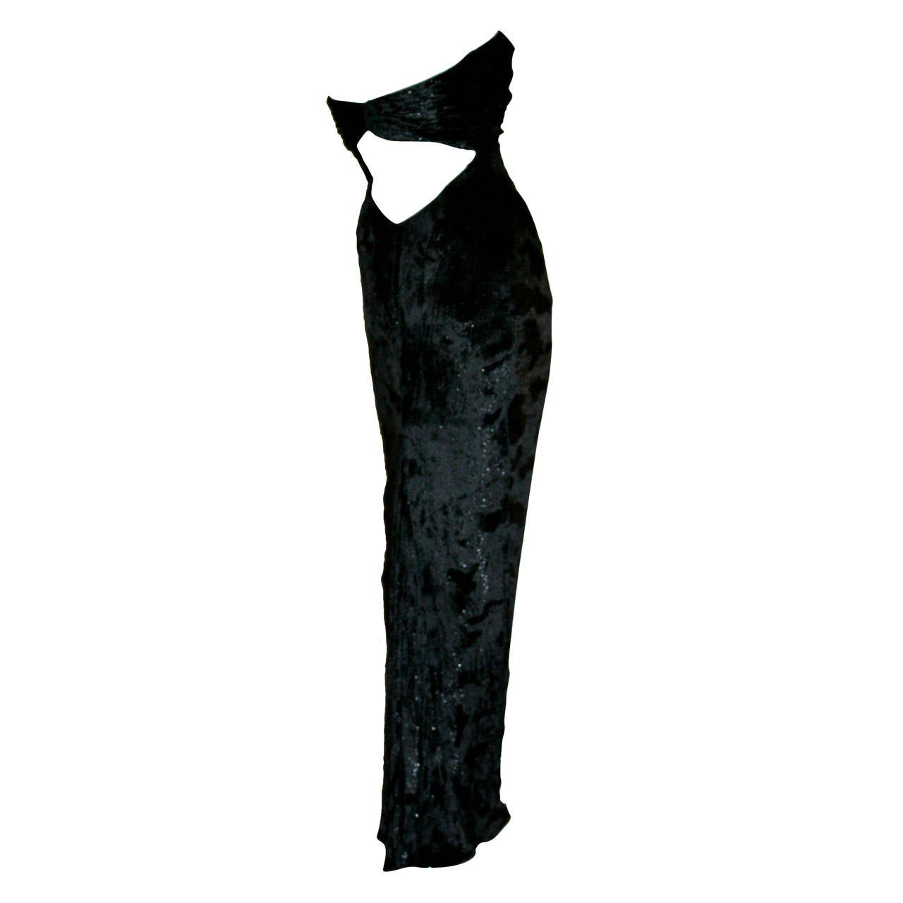 Sexy Vicky Tiel Vintage Gown Black Crushed Sparkle Velvet w/ Open Back 1