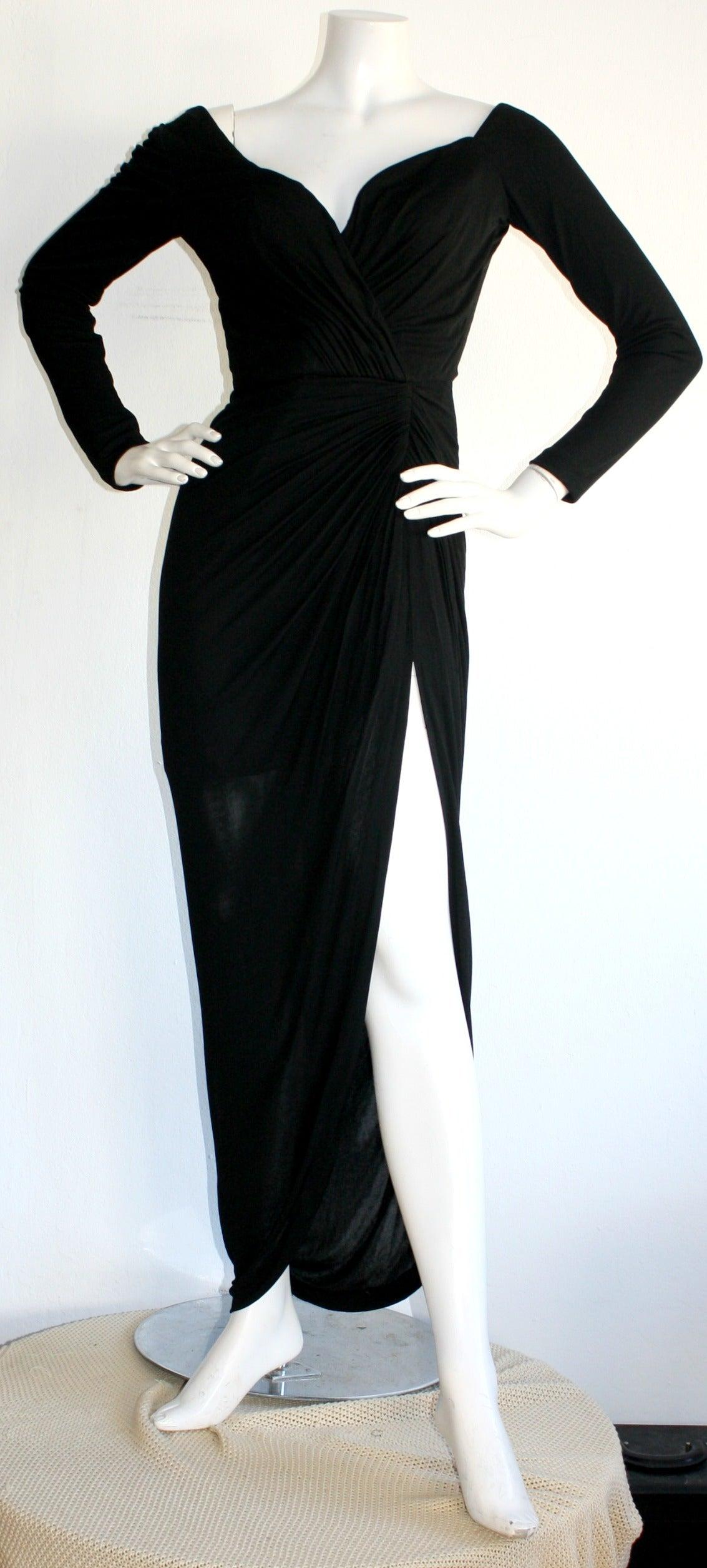 Remarkable Vintage Vicky Tiel Couture Black Jersey Off-Shoulder Gown 2