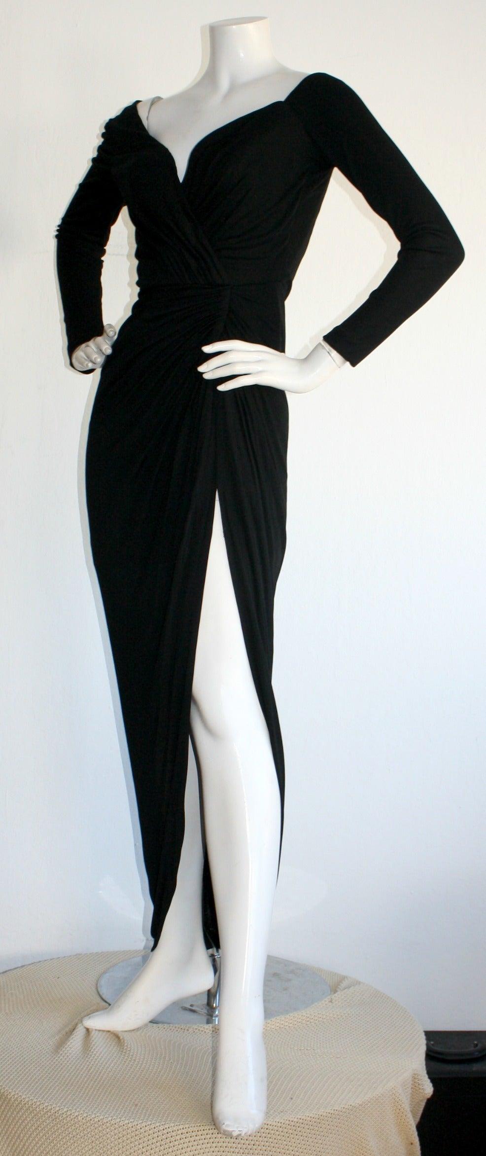 Remarkable Vintage Vicky Tiel Couture Black Jersey Off-Shoulder Gown 3