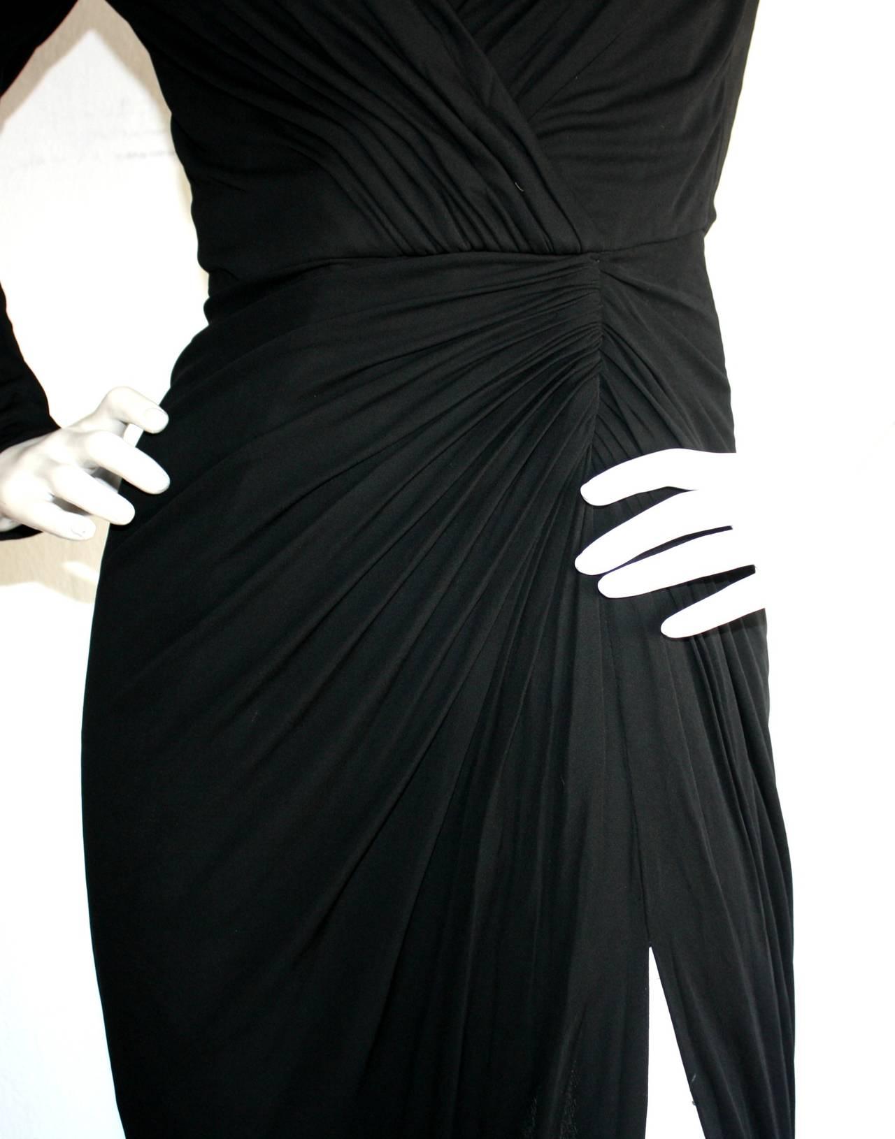 Remarkable Vintage Vicky Tiel Couture Black Jersey Off-Shoulder Gown 4