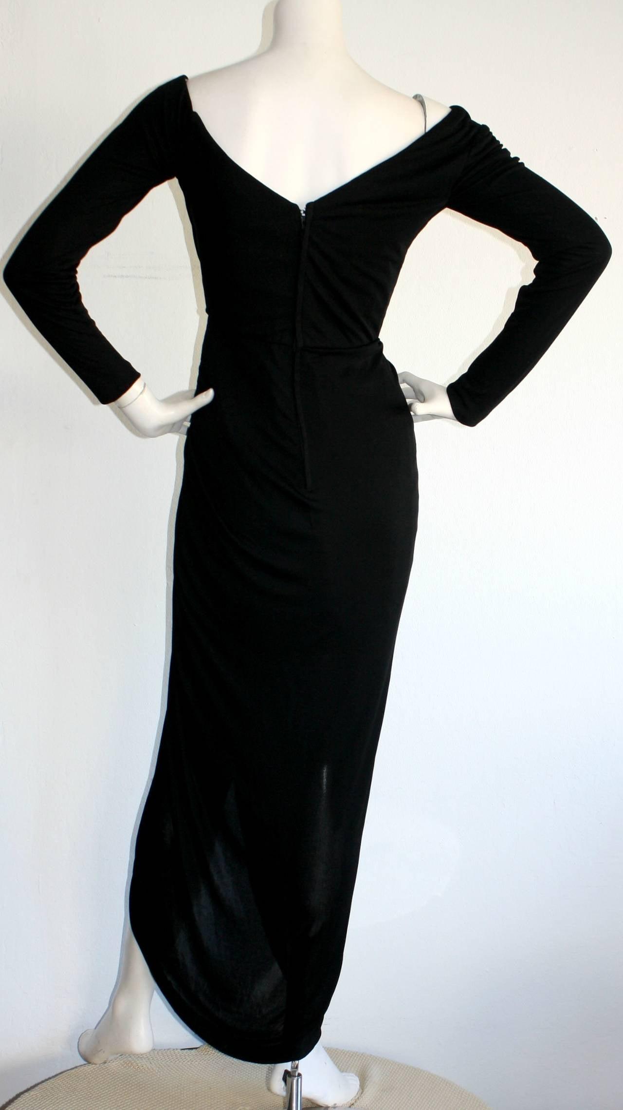 Remarkable Vintage Vicky Tiel Couture Black Jersey Off-Shoulder Gown 5