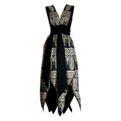 1960s Vintage Jay Morley for Fern Violette Harlequin Gold Black Wrap Dress
