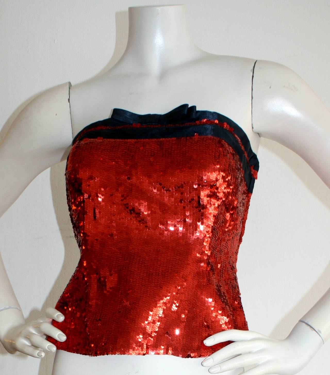 Women's Brand New Vintage Bill Blass Red Sequin Bow Bustier Top For Sale