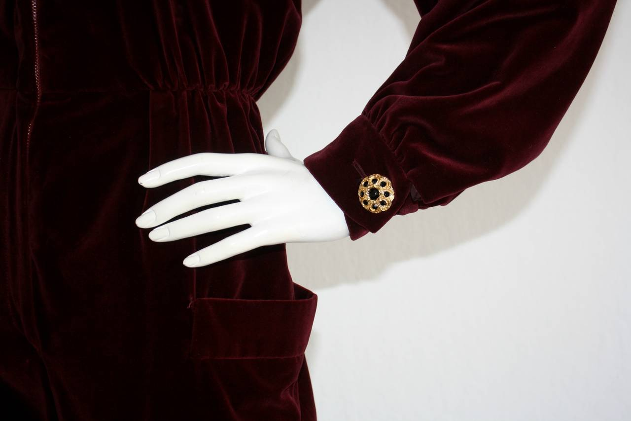 Black Important Vintage Yves Saint Laurent Le Smoking Burgundy Velvet Jumpsuit For Sale