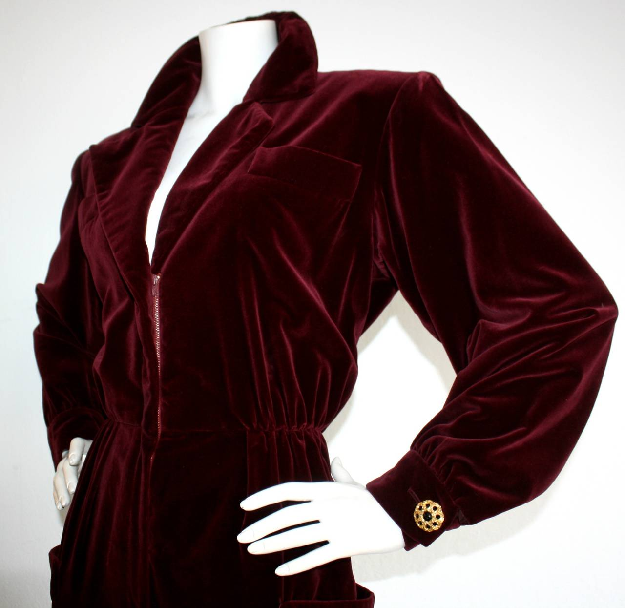Important Vintage Yves Saint Laurent Le Smoking Burgundy Velvet Jumpsuit In Excellent Condition For Sale In San Francisco, CA