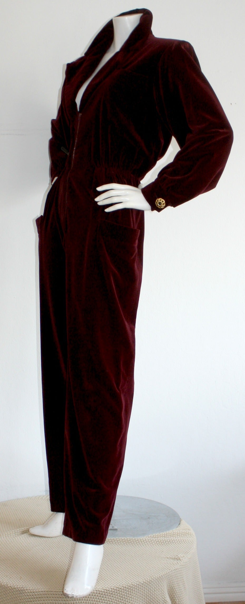 Women's Important Vintage Yves Saint Laurent Le Smoking Burgundy Velvet Jumpsuit For Sale