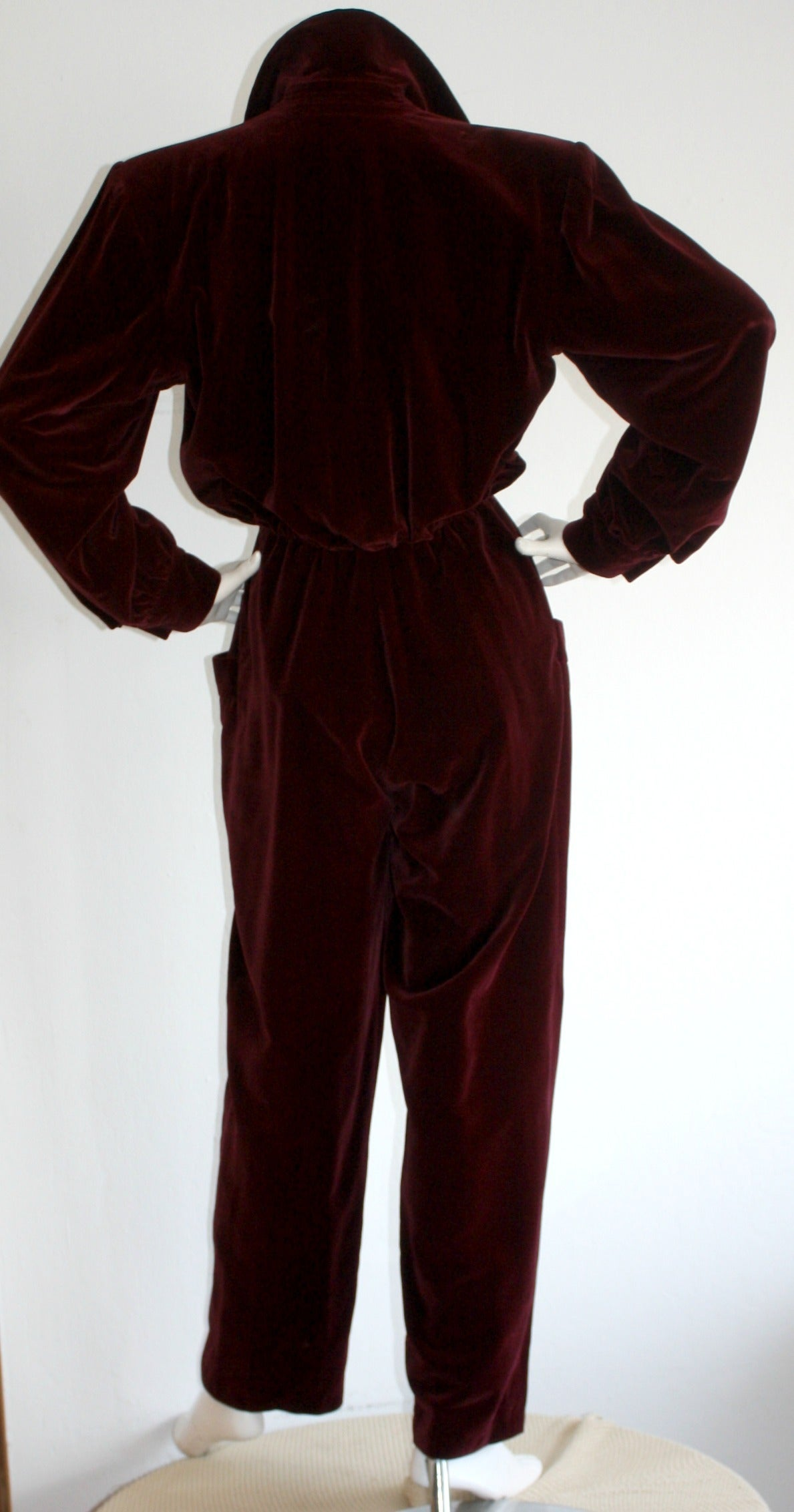 Important Vintage Yves Saint Laurent Le Smoking Burgundy Velvet Jumpsuit For Sale 1