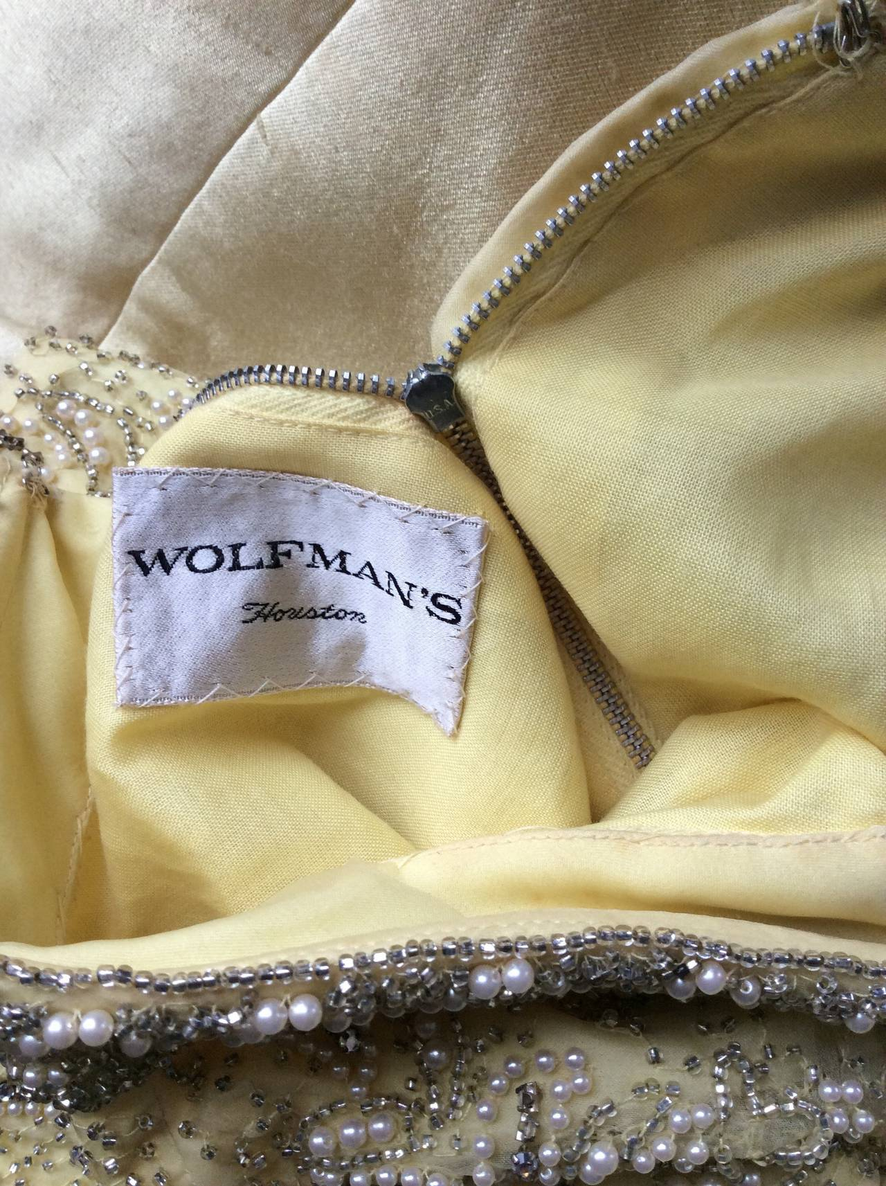 Gorgeous Vintage 1960s Wolfman's of Houston Heavily Beaded Yellow Silk Bell Gown 9