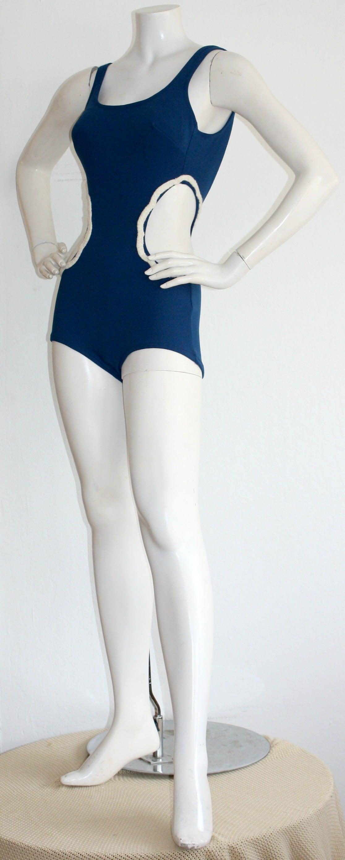 Purple 1960s Vintage Oleg Cassini ' Peter Pan ' Space Age Cut-Out Swimsuit For Sale