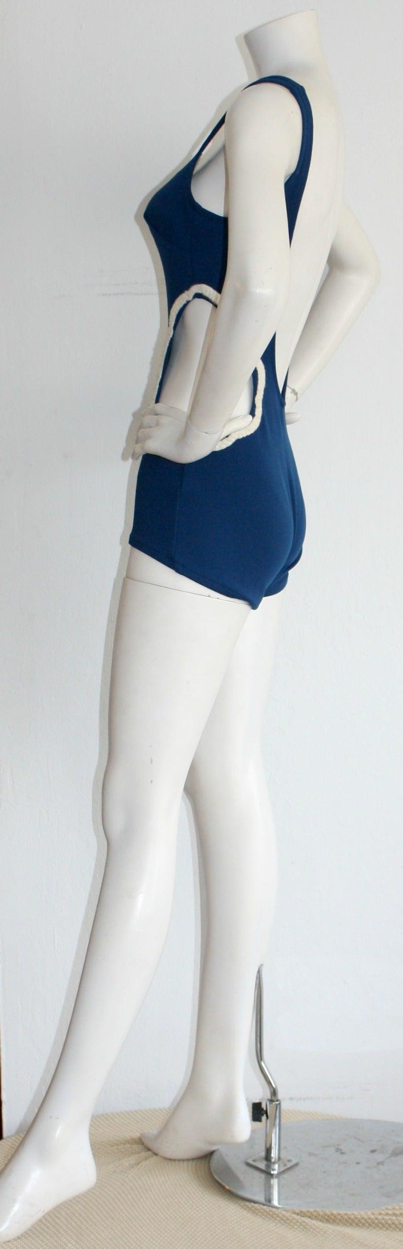 Women's 1960s Vintage Oleg Cassini ' Peter Pan ' Space Age Cut-Out Swimsuit For Sale