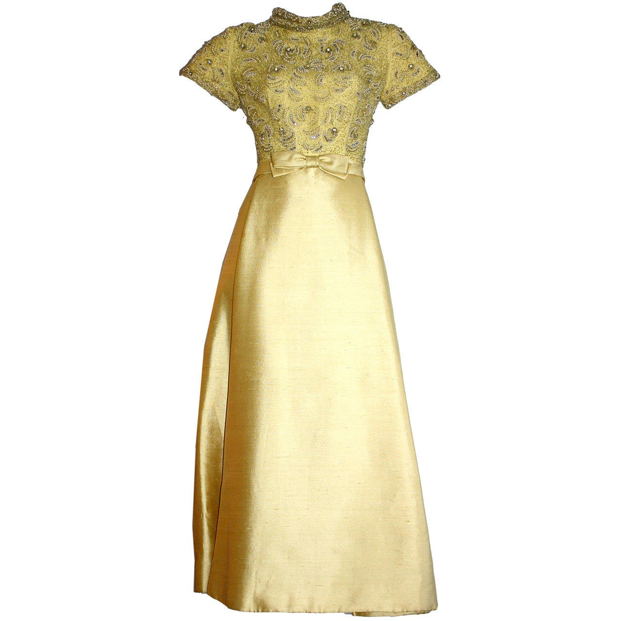 Gorgeous Vintage 1960s Wolfman's of Houston Heavily Beaded Yellow Silk Bell Gown 1