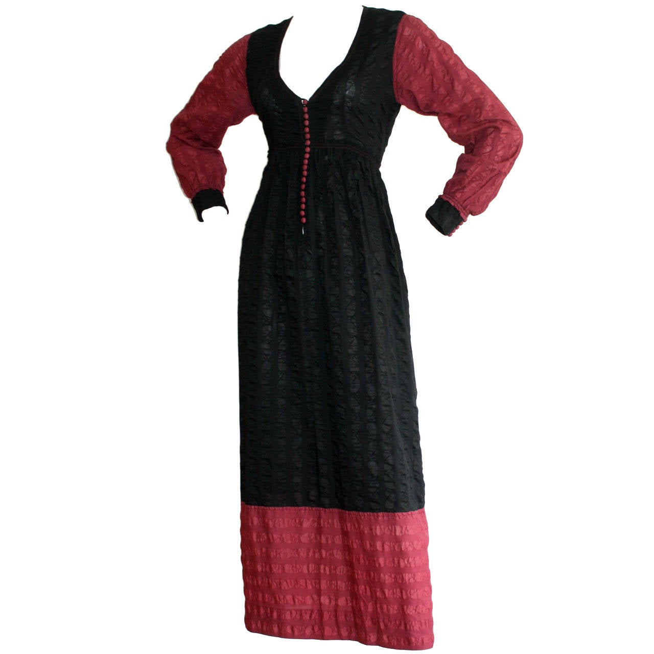 Important Vintage Jean Muir Color Block Peasant Maxi Dress