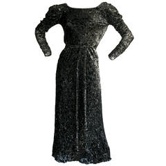 Vintage Mary McFadden Black Silk Metallic Belted Dress w/ Plunging Back
