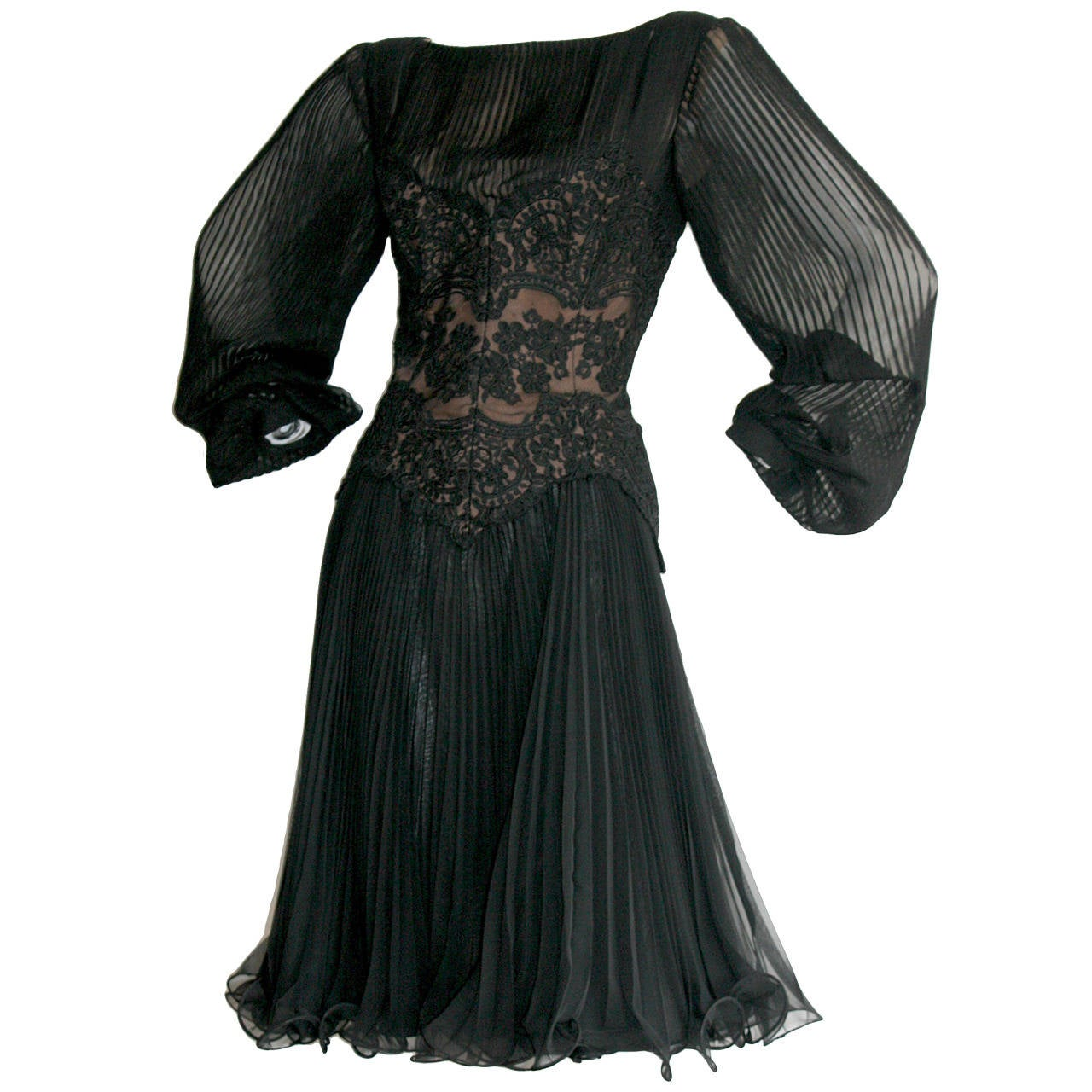 Vintage Travilla Lace Illusion Bodice Silk Chiffon Flowy Black Dress 1