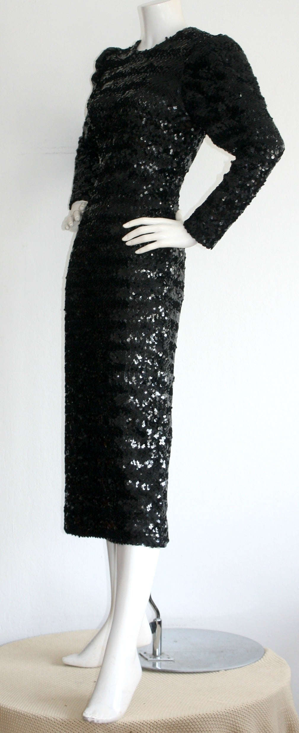 Beautiful Vintage Paco Rabanne Black Sequin Dress w/ Plunging Back 3