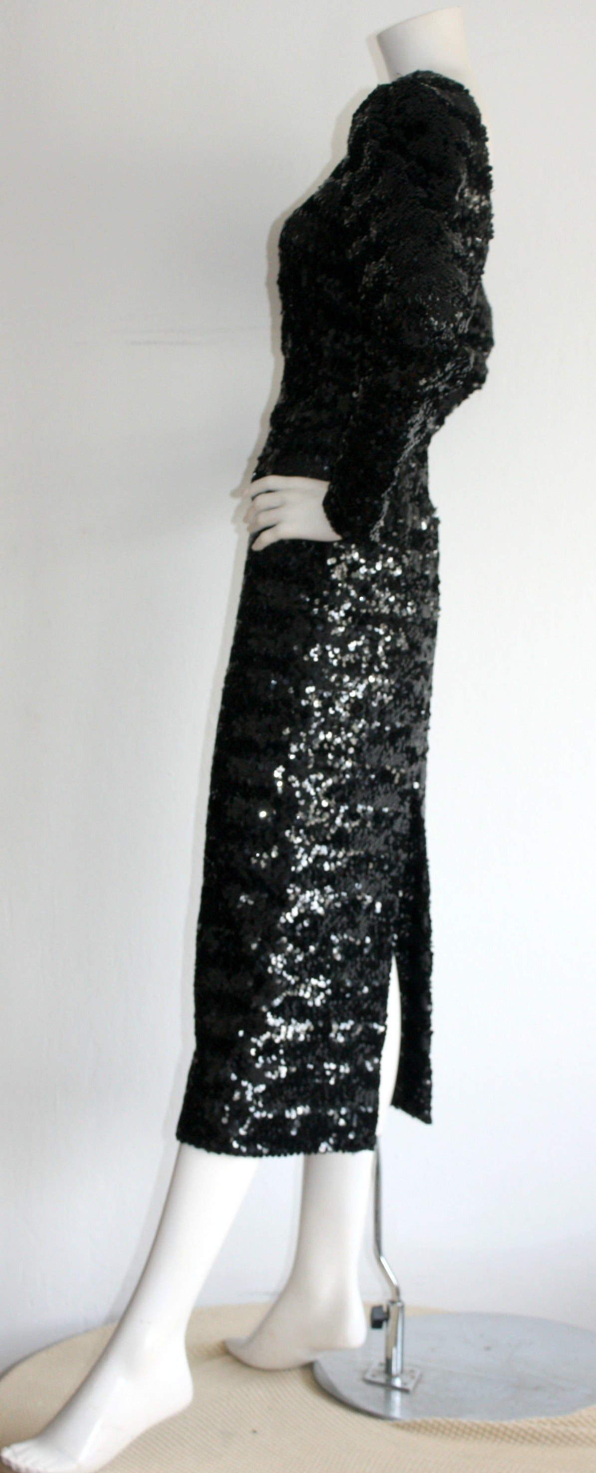 Beautiful Vintage Paco Rabanne Black Sequin Dress w/ Plunging Back 5