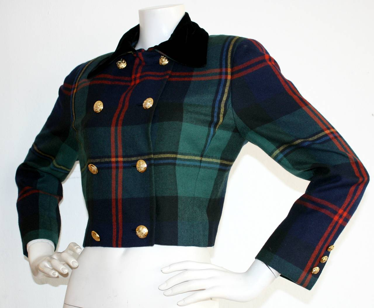 Vintage Ralph Lauren Purple Label Tartan Plaid Double Breasted Cropped Jacket 3
