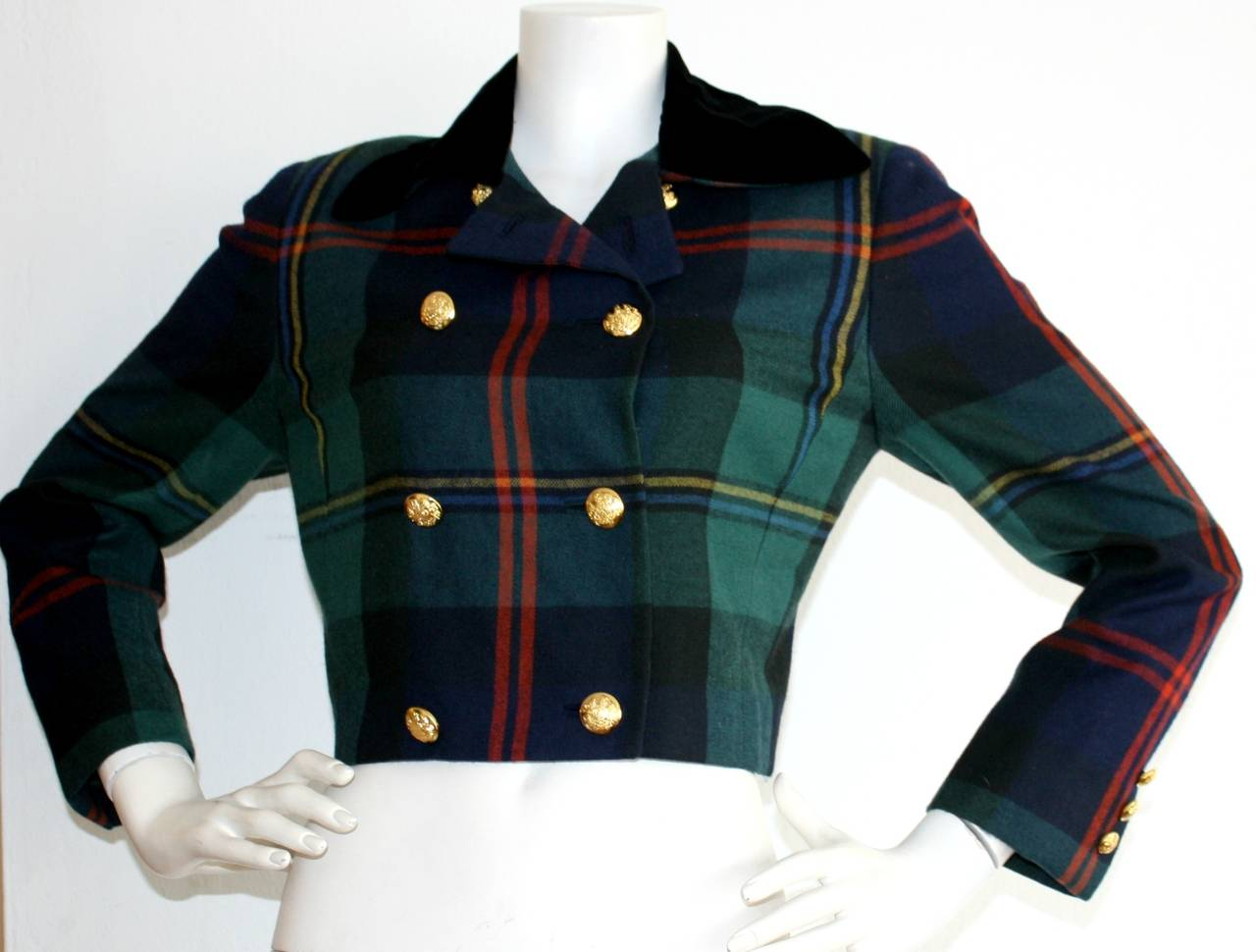 Vintage Ralph Lauren Purple Label Tartan Plaid Double Breasted Cropped Jacket 4