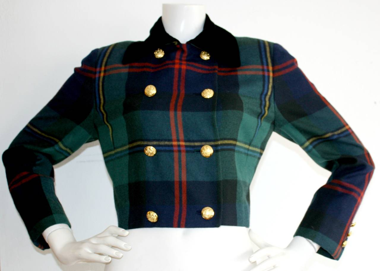 Vintage Ralph Lauren Purple Label Tartan Plaid Double Breasted Cropped Jacket 6