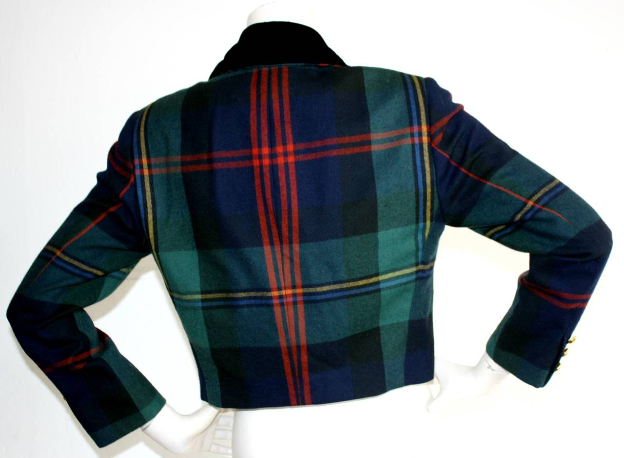 Vintage Ralph Lauren Purple Label Tartan Plaid Double Breasted Cropped Jacket 5