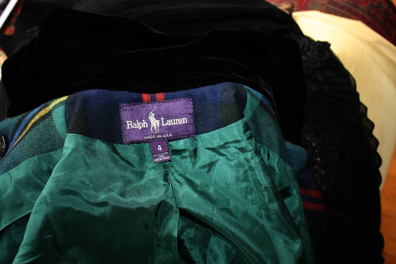 Vintage Ralph Lauren Purple Label Tartan Plaid Double Breasted Cropped Jacket 7