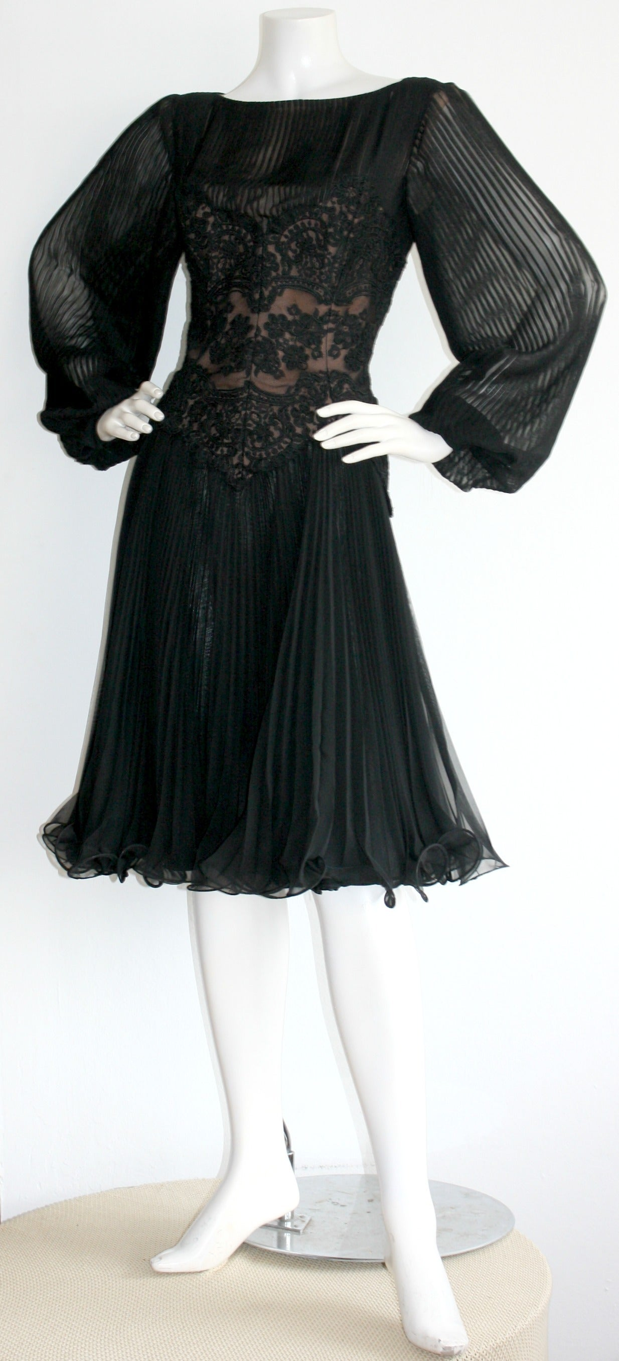 Vintage Travilla Lace Illusion Bodice Silk Chiffon Flowy Black Dress 2