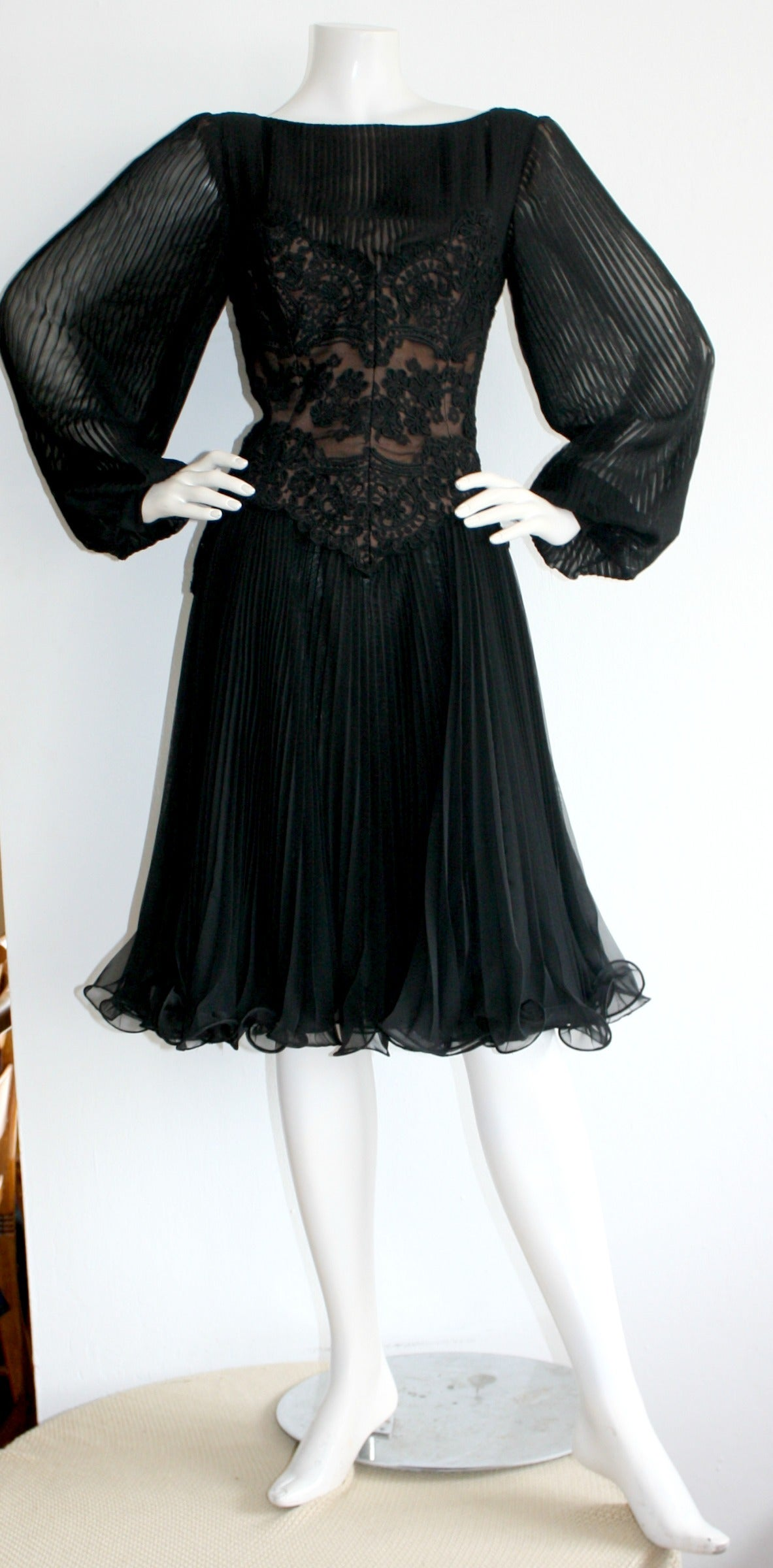 Vintage Travilla Lace Illusion Bodice Silk Chiffon Flowy Black Dress 4