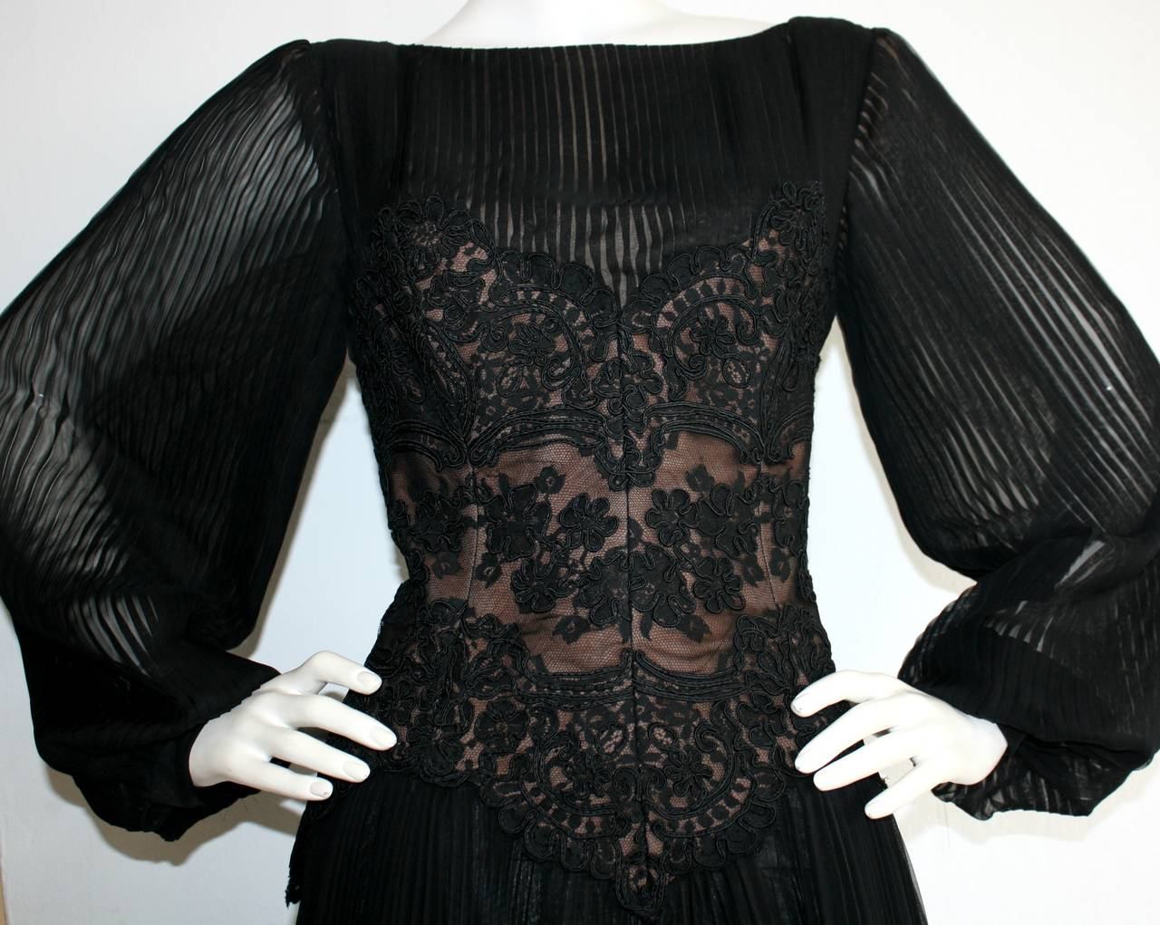 Vintage Travilla Lace Illusion Bodice Silk Chiffon Flowy Black Dress 3