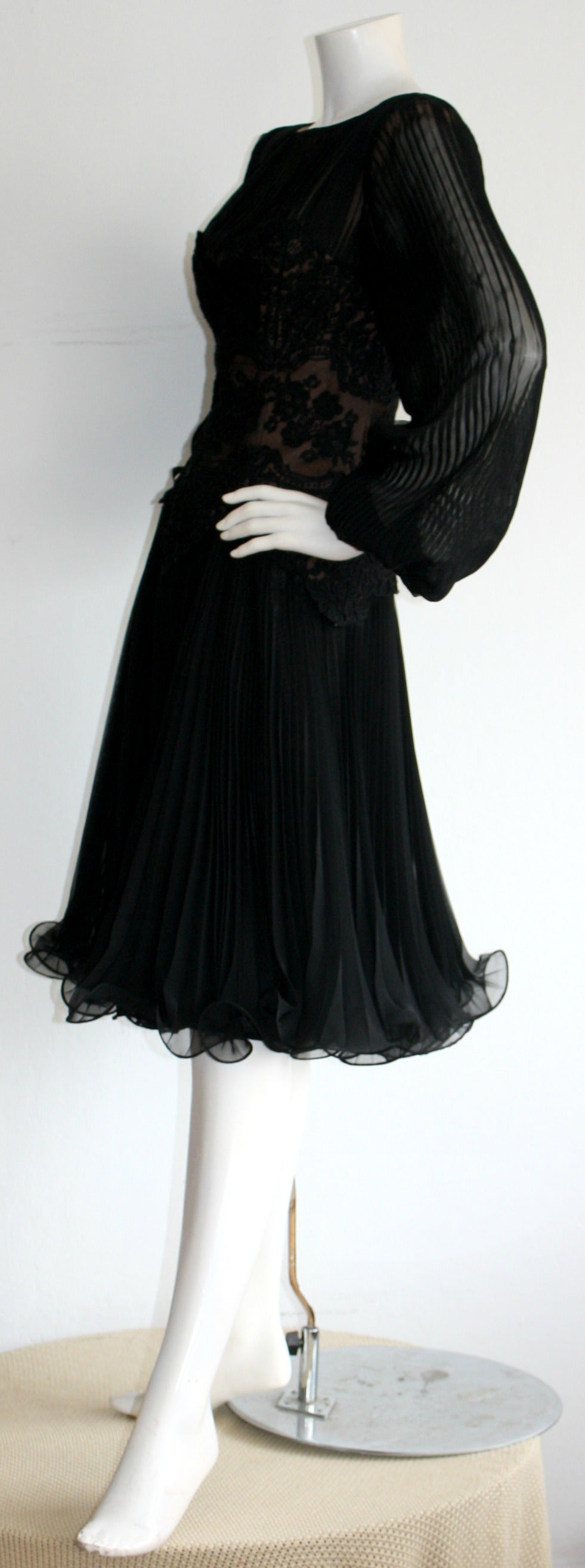 Vintage Travilla Lace Illusion Bodice Silk Chiffon Flowy Black Dress 7