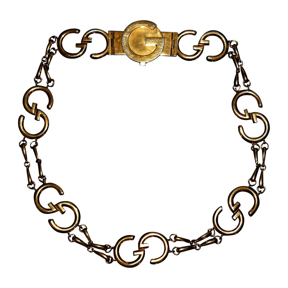 Iconic 1970s Vintage Gucci Signature Gold Belt / Necklace For Sale