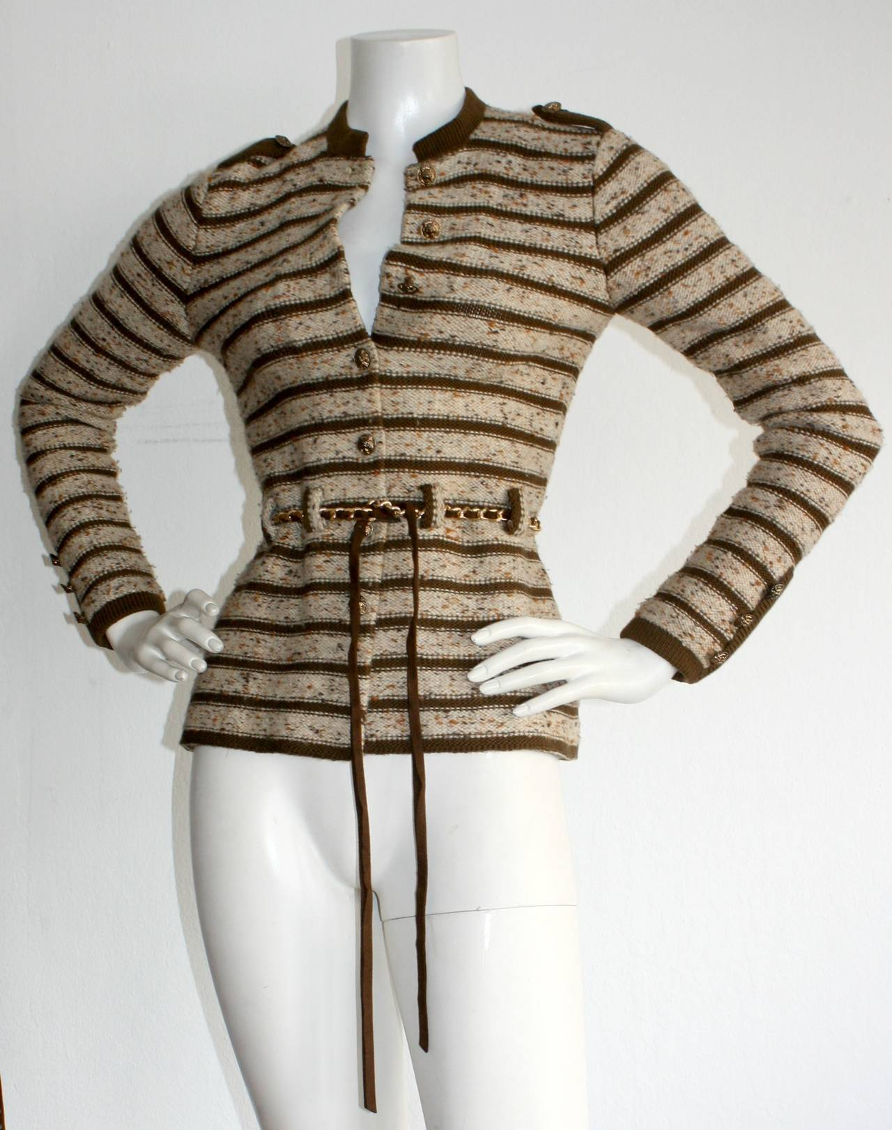 Brown Chic Vintage Adolfo Saks 5th Ave. Military Cardigan Sweater w/ Chain Belt For Sale