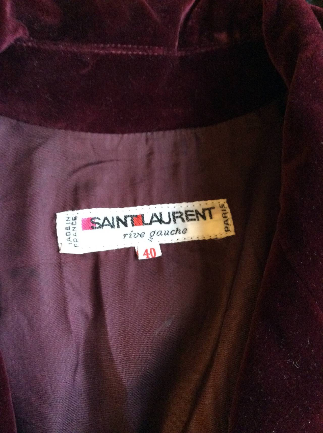 Important Vintage Yves Saint Laurent Le Smoking Burgundy Velvet Jumpsuit For Sale 2