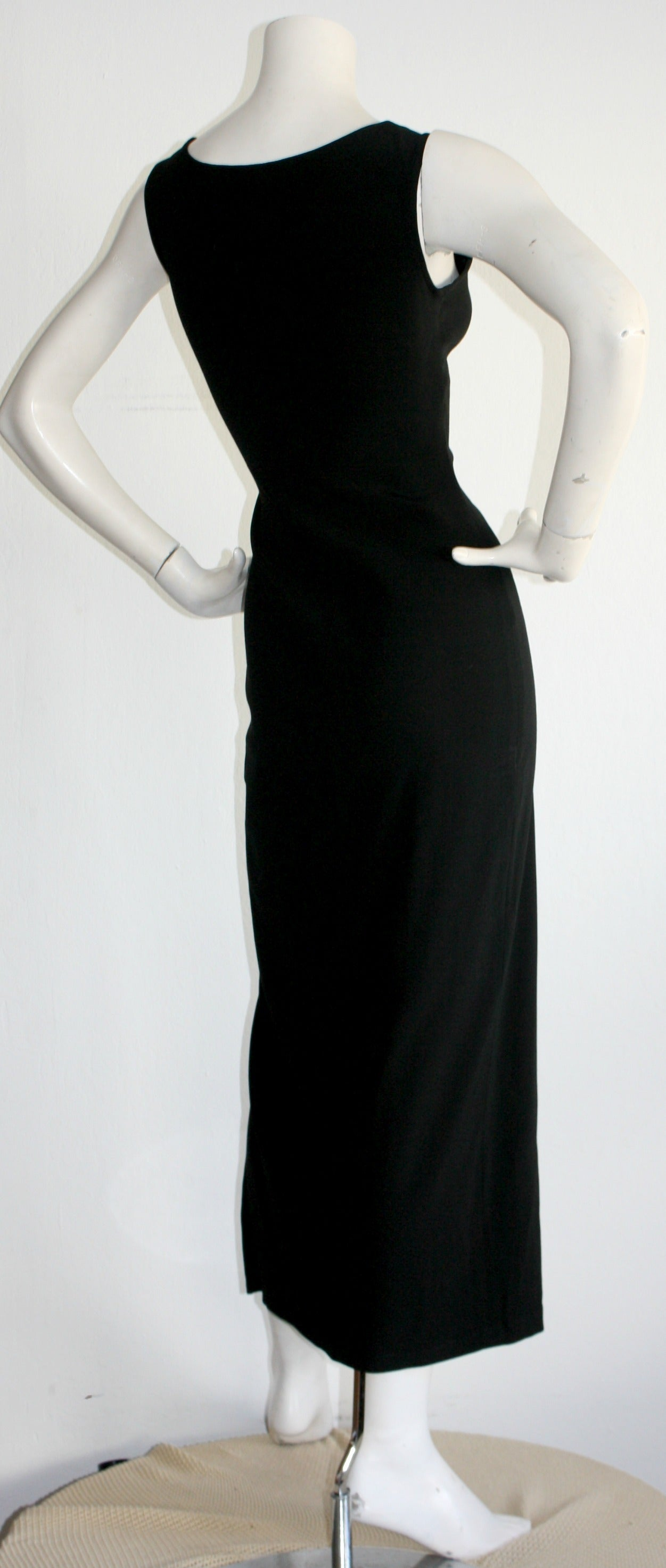 Sexy 1990s Vintage Jean Paul Gaultier Black dress w/ High Slit For Sale 1